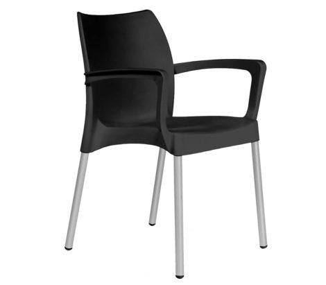 SAPPHIRE ARMCHAIR ALU LEGS-BLACK