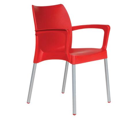 SAPPHIRE ARMCHAIR ALU LEGS-red