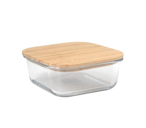 Glass Lunch Box Squ Wdn Lid 13x6cm-2